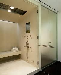 ariel steam shower bathroom modern with alcove ceiling lighting dark floor glass shower