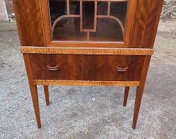 china cabinet hutch. 9 Of 12 Antique 1930s Art Deco Curio China Cabinet Hutch Fretwork Glass Door Walnut