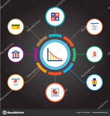 Smart Chart App Set Of Analytics Icons Flat Style Symbols With Smart Watch