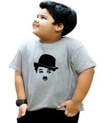 Charlie Chaplin T Shirt Design The Heyuze Haat Round Neck Printed Grey Kids Boys T Shirt With Charlie Chaplin Design