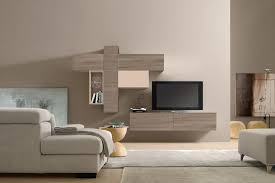 medium size modern look of wall units in mini st living room with sydney pure white wooden finishi