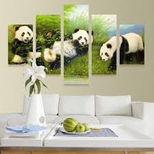 5 panel modern printed animal bearcat panda painting picture canvas wall art cuadros home decor for on panda canvas wall art with 5 panel modern printed animal bearcat panda painting picture canvas