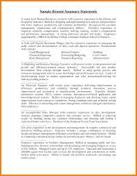 Sample Summary Statement Resume 6 Resume Summary Statement Examples Activo Holidays