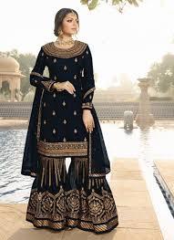 Black Sharara Designs Black Color Georgette Designer Sharara Suit