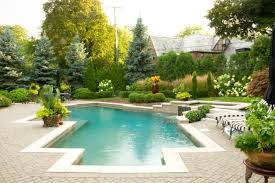 Patio with pool Inground Heres An Example Of How Surrounding Flowers And Bushes Can Enhance The Look Of An Already Home Stratosphere 99 Swimming Pool Designs And Types 2019 Pictures