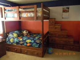 Custom Made Full Over Bunk Bed With Drawers And Stairs by Treasure