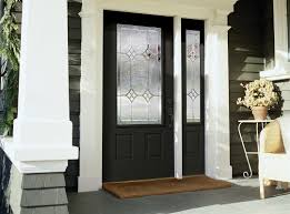 black front door with half glass insert with single right sidelite sleek yellow steel