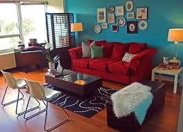 red sofa teal accent wall i already