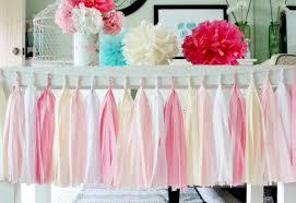 pink white and cream tissue paper tassel garland wedding birthday bridal shower baby shower garden party decorations