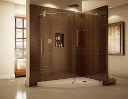 frameless curved corner sliding door shower enclosure and acrylic base kinetic line