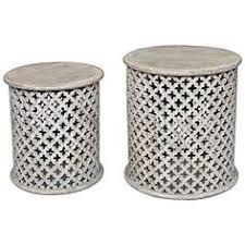 white washed mango wood. Bengal Manor Whitewash Mango Wood 2-Piece Accent Table Set White Washed E