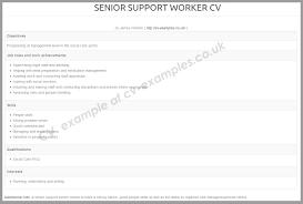 cv examples co uk cv example list for social care jobs senior support worker cv