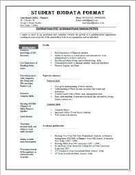 Biodata Resume Samples Sample Format Student Compliant Vision Thus