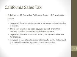 California Sales Tax On Auction Items And Special Event