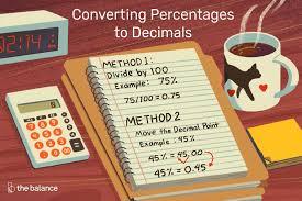 How To Convert Percentages To Decimals
