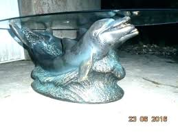 dolphins coffee table dolphin with oval shaped glass top