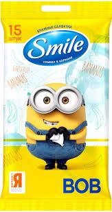 <b>Салфетки влажные Smile Minions</b> с ароматом банана 15шт ...