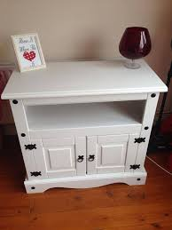 painted mexican furnitureCorona Mexican Pine tv unit post makeover Painted white and