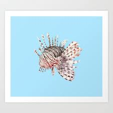 watercolor lionfish tropical fish marine life painting art print