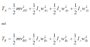conservation of energy general kinetic energy equations at a and b for rigid body for conservation of energy