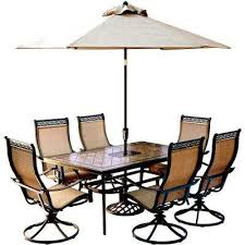 Patio furniture dining sets with umbrella Brilliant Monaco 7piece Outdoor Dining Set With Rectangular Tiletop Table And Contoured Sling Home Depot Umbrella Patio Dining Sets Patio Dining Furniture The Home Depot