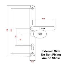 universal inline multipoint door handle dimensions