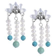 natural beauty sterling multicolor lotus flower chandelier earrings yn pollack