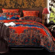 chinese red purple and peacock blue tribal print bohemian chic full queen size bedding sets