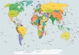 Fototapete, Tapete Political World Map Atlas bei EuroPosters - Kostenloser  Versand