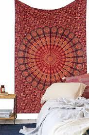 red mandala multi tapestry wall hanging