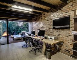 combined office interiors. Perfect Combined Combined Office Interiors Desk Natural Elegant Design The Exposed Brick  That Has Wooden Floor To Combined Office Interiors C