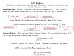 Mla Citations Alphabetize Your Citations Using The First Word In