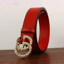 2019 fashion womens red pearl leather belt with box