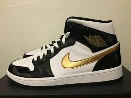 new nike air jordan 1 mid 10 5 patent se black gold white leather 852542 007