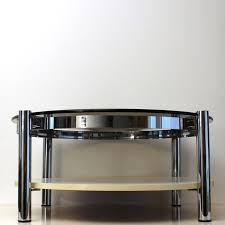 vintage chromed round design coffee table with thick glass table top