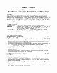 Cisco Network Engineer Resume Sample Fresh Network Entry Level