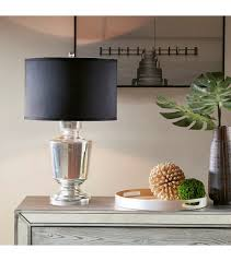 glass trophy shape table lamp black shade