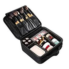 amazon large travel makeup train case professional diy cosmetic storage organizer portable mini make up bag leather carrying box with adjule