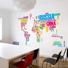 office wall stickers. Wallpaper Colorful Letters World Map Wall Stickers Living Home Decorations Creative Pvc Decal Mural Art Diy Office H47 Appliques For Walls