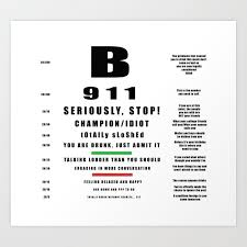 Where Can I Buy An Eye Chart Drinkers Eye Chart Art Print By Thearts