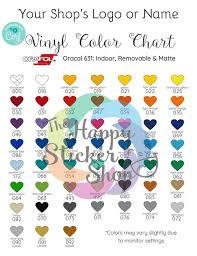 Oracal 631 Indoor Color Chart Editable On Corjl Digital Download Vinyl Color Chart Vinyl Lettering Color Chart