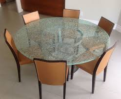 glass dining room table sets. Round Crackle Glass Dining Table With Tripod Metal Base Room Sets N