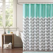 grey and green shower curtain. teal grey white zig zag chevron microfiber shower curtain and green