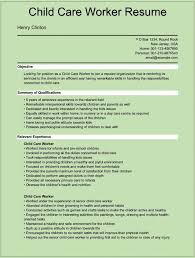 resume for child care