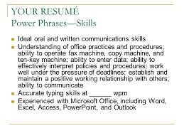 Resume Power Phrases Interesting Karen Roush Instructor Ppt Download