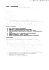 College Teaching Resume Template College Instructor Resume ...