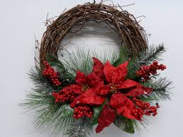Christmas Grapevine Wreath, Red Poinsettia Grapevine Wreath, Holiday Wreath,  Front Door Wreath,