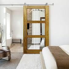 solid african oak sliding barn door with mirror insert 34 x84 inches design