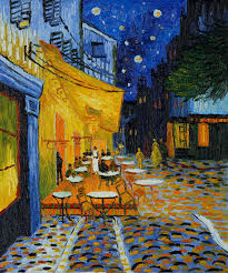 the cafe terrace at night first painting in which van gogh started using backgrounds