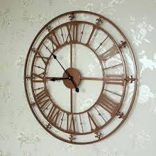 rose gold copper colour skeleton wall clock open face metal industrial cm large extra
